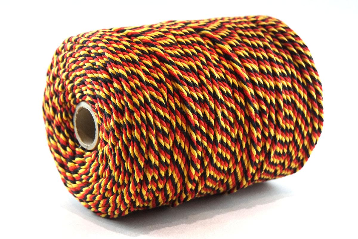 Ficelle en coton ø3 mm. - bobines 1 kg.   noir/jaune/rouge