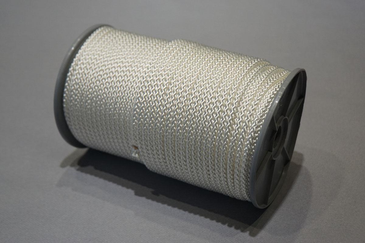 Gevlochten Nylon ø12 mm. - bobijnen  100 m. wit